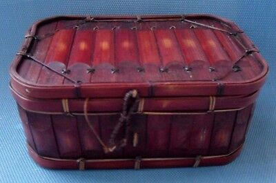 Very Nice Antique Bamboo Sewing - Storage Basket - Box