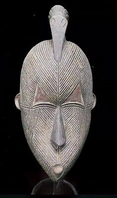 African Art Old Tribal Songye  Mask With Bird From Congo