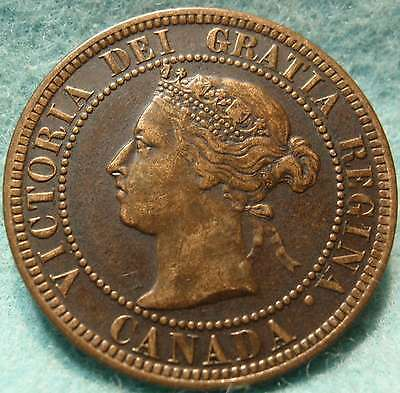 1886 XF-AU High Grade CANADA LARGE CENT Victoria COIN CANADIAN  .-...-