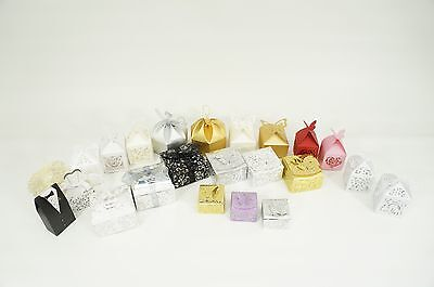 Luxury Wedding Party Sweets Cake Candy Gift Favour Boxes Birthday Laser Ribbon