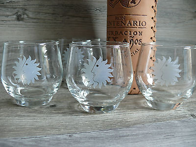 Four Vtg Roly Poly Rocks Sun King Glasses National Airlines Barware Beach Home