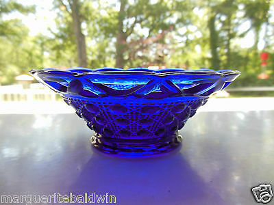 """Imperial Glass Cobalt Blue Button & Cane Laced Edge 6"""" Condiment Mayonnaise Bowl"""