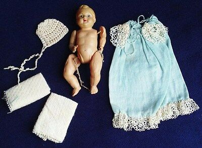 """Vintage Celluloid Plastic 3"""" Miniature Baby Doll with Gown Hat Blankets Germany"""