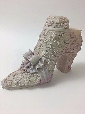Large Shoe Figure Poly-Resin Victorian Lavender Bow Lace Roses Heel Boot GD