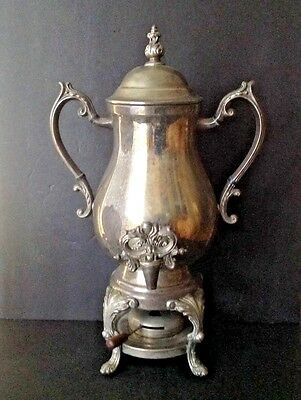 """Vtg F.B Rogers Silver Co. 19""""Tall  Silverplate Teapot Kettle Footed Stand Burner"""