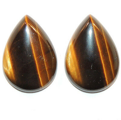 Tiger's Eye 25x17.5mm with 6mm dome Cabochons Set of 2 From Africa (11666)