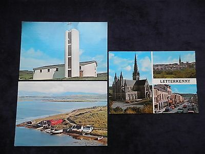 3 Vintage Irish Postcards Co. Donegal, Letterkenny, Star of the Sea, Mulroy Bay
