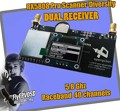 recepteur scanner video 5.8G Dual Diversity RX5808 pro Receiver OLED Screen FPV