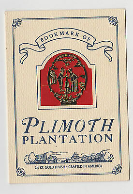 1x Bookmark Of Plimoth Plantation 24kt Gold Finish Weighs 2 Grams 1990 Made USA