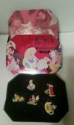 Disney Alice in Wonderland 45th Anniversary Commemorative Tin w/ 5 out of 6 Pins