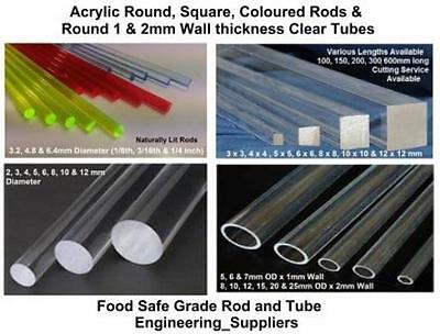 Clear Acrylic Round, Square, Colour Rods Bars & Tube 2 - 25mm dia 100 - 600mm lg