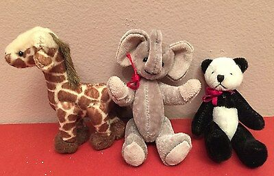Miniature Nursery decorative plush jungle animals Elephant Giraffe Panda Easter