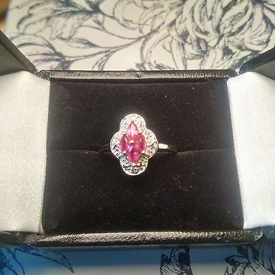 Vintage 9ct Gold Ruby and Diamond Cluster Ring Scalloped Marquise Art Deco Sz M