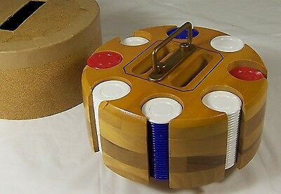 Vintage Poker Chips with Wood Rack Caddy Carousel and Lid