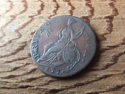 George Iii   1775,  Halfpenny.   Evasion Issue.  Rare.    Nice Condition.