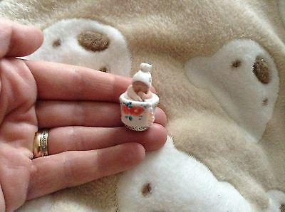 Tiny MICRO thimble baby OOAK Artist miniature gift collectable 2.5cm ornament
