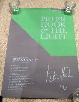 PETER HOOK & THE LIGHT - rare tour concert / gig poster Signed By Peter Hook