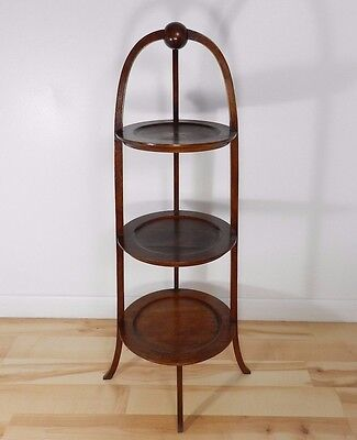 Vtg Bartley Collection Solid Wood Victorian Style Walnut Plant Tray Side Stand