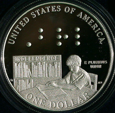 2009 Louis Braille Bicentennial Proof 90% Silver Dollar US MINT Coin Box and COA