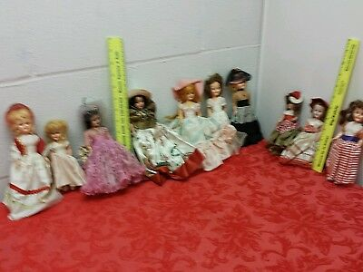 "vintage Lot 10 dolls small plastic 6-7"" Eyes open/close painted faces"