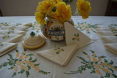 Tablecloth X12 Linen With Hand Embroidery Flowers