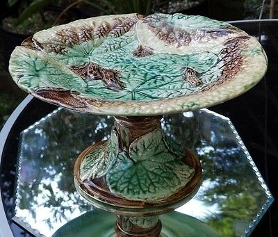 Antique Pottery : A lovely Victorian Majolica Cabbage leaf Comport