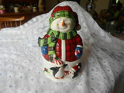 "Christmas Home Interiors ""Sassy Snowman"" Snowman Cookie Jar-New"