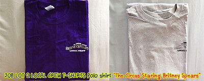 "JOB LOT 2 LOCAL CREW T-SHIRTS ""The Circus Starring Britney Spears"" PURPLE & GREY"