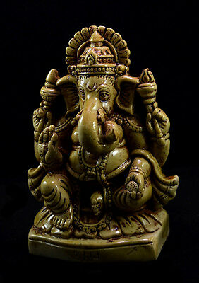 "Hand Carved Meditating God Ganesha Resin USA Sculpture Statue Size 5.5"" AIRS303"