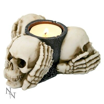 Nemesis Now 3 Wise Skulls - See, Hear, Speak No Evil Tealight Holder - Gothic