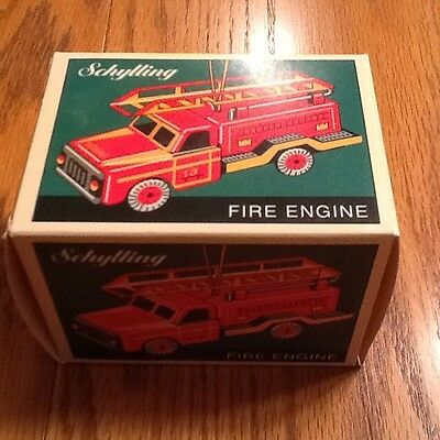 Cute NIB Schylling Tin Toy Fire Engine Ornament~Firefighter Truck~FREE SHIPPING!