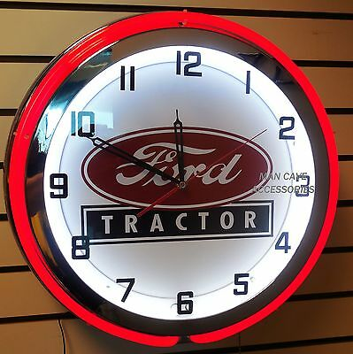 "18"" FORD TRACTOR Sign Double Neon Clock"