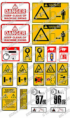 Jcb Mini Digger Safety Warning Decal Sticker Set