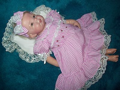 Reborn dolls clothes  PINK and white gingham DRESS SET for  19-21 INCH