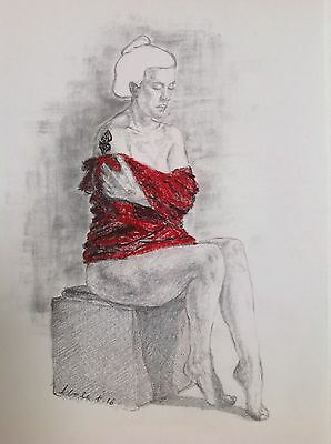 Lady with a tattoo, female nude drawing, women in a red wrap, original art