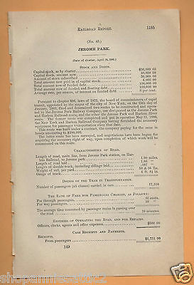 1880 NEW YORK RR report JEROME PARK RAILROAD Bronx NYC train to old race track