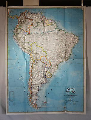 1972 National Geographic   South America Map - 22 x 30 inches