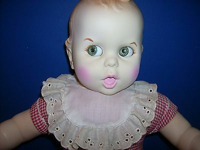 """Gerber Baby doll in box 1970's 17"""" Google eyes Missing skirt Clean Cuddly"""