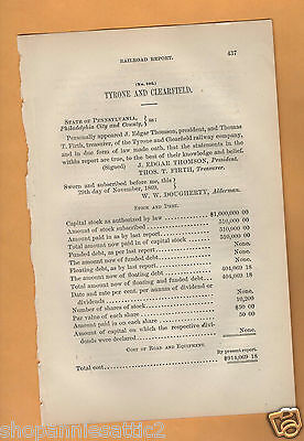 1869 RR report TYRONE AND CLEARFIELD RAILROAD vintage train Bald Eagle PA paper