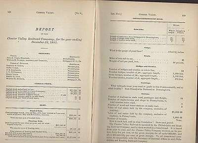 1882 railroad report CHESTER VALLEY RR Downingtown PA train  Bridgeport