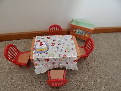 Fisher Price Loving Family Dollhouse Furniture Large  Kitchen Table With Chairs