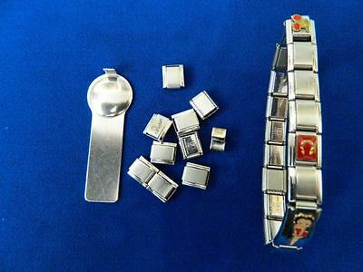 Italian Charm Bracelet 9Mm,10 Extra Charms And Tool, Stainless Steel And Gold