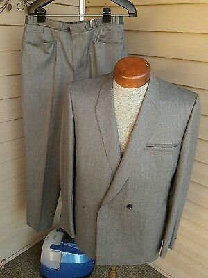 Rare Vintage 60's 70's Size 40 Kuppenheimer 2 Gray Wool Double Breasted Suit