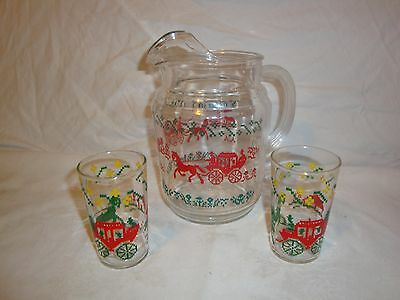Federal Glass Ice Lip Pitcher , 2 Glasses Stage Coach Horses Homestead Settlers