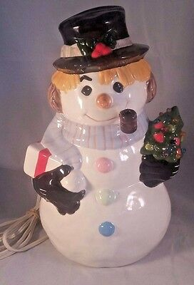 Vintage Ceramic Snowman w/ Pipe and Light up Tree.