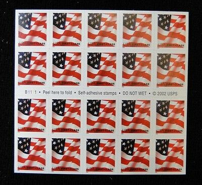 Scott  #3623 U S FLAG   booklet of 20  MNH free shipping