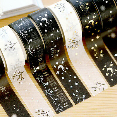 Christmas Set Gold Foil Printing Japanese Washi Paper Tape 15mm X 5m PR