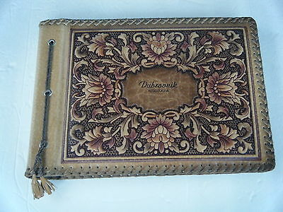 VTG Photo Album Scrapbook Brown Embossed Tooled Leather Ostrich Skin Unused