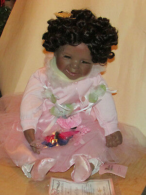 """Paradise Galleries Butterfly Kiss Black Porcelain Doll 22"""" NEW!"""