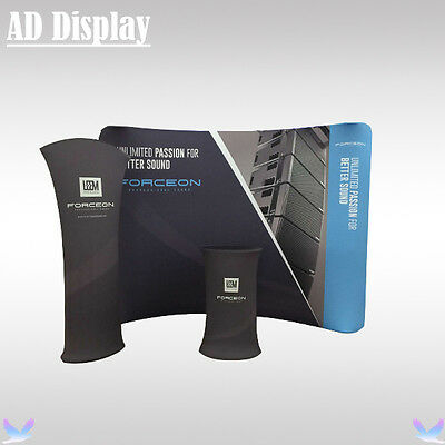 Trade Show 10ft Curved Tension Fabric Banner Display Wall With Tower And Table
